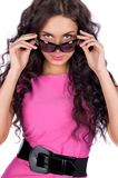 Beautiful young model wearing sunglasses Royalty Free Stock Photos