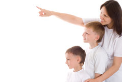 Beautiful young mom standing with her sons Royalty Free Stock Image
