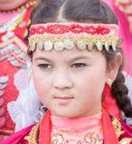 Beautiful young mongolian girl. Young beautiful mongolian girl portrait in traditional dress Royalty Free Stock Photo