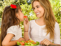 Beautiful young mother and daughter having fun eating a healthy launch Stock Photography