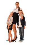 Beautiful young mother with  daughter and son isolated over whit Royalty Free Stock Photography