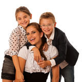 Beautiful young mother with  daughter and son isolated over whit Stock Photos