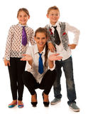 Beautiful young mother with  daughter and son isolated over whit Stock Image