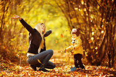 Beautiful young mother and her daughter in the park Stock Image