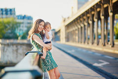 Beautiful young mother with her son in Paris Stock Images