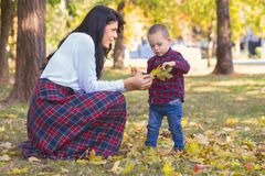 Beautiful young mother plays with her son in the park in autumn Royalty Free Stock Image