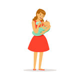 Beautiful young mother in red dress holding her baby and feeding with milk bottle colorful vector Illustration. On a white background Stock Photography