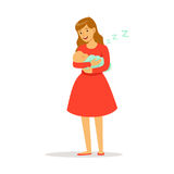 Beautiful young mother in red dress rocking her newborn baby to sleep colorful vector Illustration Royalty Free Stock Photography