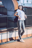 Beautiful young mulatto woman in urban environment Royalty Free Stock Image