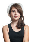 Beautiful young multicultural girl wearing a hat Royalty Free Stock Images