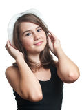 Beautiful young multicultural girl wearing a hat Stock Photo