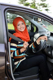 Beautiful young muslim drive car Royalty Free Stock Image