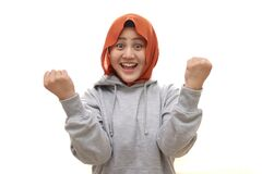 Free Beautiful Young Muslim Woman Wearing Hijab Happy And Excited Expressing Winning Gesture. Successful And Celebrating Victory Royalty Free Stock Photography - 187714427