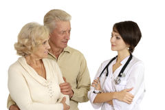 Beautiful young nice nurse with elderly patient Stock Photography