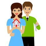 Beautiful young pair gets on the hip the layout of house Royalty Free Stock Photos