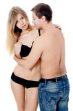 Beautiful young pair on the white Stock Photography