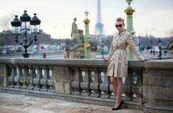 Beautiful Parisian woman outdoors Stock Image