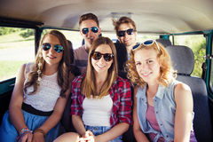 Beautiful young people a on road trip Stock Photography