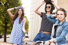 Beautiful young people on urban background Stock Photography