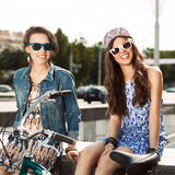 Beautiful young people on urban background Royalty Free Stock Photography