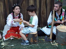 Beautiful young peoples in romanian rustic clothes Royalty Free Stock Photo