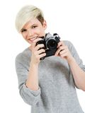 Beautiful young photographer Royalty Free Stock Photo