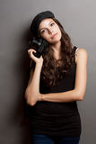 Beautiful young photographer. Stock Images