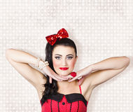 Beautiful young pin-up woman posing Stock Photo