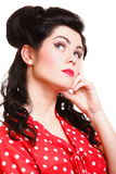 Beautiful young pinup girl thinking, isolated Royalty Free Stock Photos