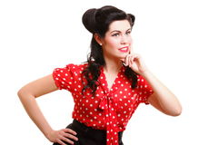 Beautiful young pinup girl thinking, isolated Stock Photo