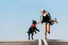 Beautiful young playing with her dog. Beautiful young skater playing with her dog in the city stock images