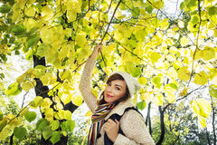 Beautiful young positive woman posing under the beech tree i Stock Photo