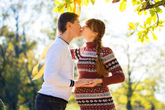 Beautiful Young Pregnant Couple Having Picnic in autumn Park. Ha Stock Image
