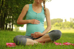 Beautiful young pregnant girl on nature Stock Image
