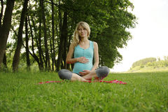 Beautiful young pregnant girl on the nature Stock Photos