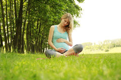 Beautiful young pregnant girl on the nature. A beautiful young pregnant girl on the nature Royalty Free Stock Photo