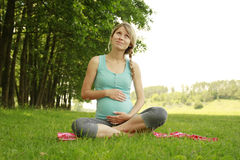 Beautiful young pregnant girl on the nature. A beautiful young pregnant girl on the nature Royalty Free Stock Images