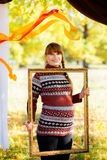 Beautiful young pregnant woman in autumn Park. Stock Images