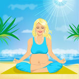 Beautiful young pregnant woman sitting in yoga pose Stock Images
