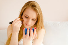 Beautiful young pretty blonde woman doing morning Royalty Free Stock Photo