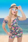 Beautiful young pretty blonde woman in sunglasses and  summer ha Stock Images