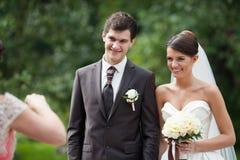 Beautiful young pretty elegant wedding couple Stock Photography