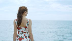 A beautiful young pretty girl is standing on the pier of the seaport. stock footage