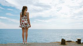 A beautiful young pretty girl is standing on the pier of the seaport. stock video