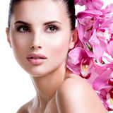 Beautiful young pretty woman with healthy skin. Royalty Free Stock Photo