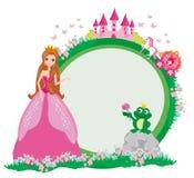 Beautiful young princess and big frog - frame. Beautiful young princess and big frog, Vector Illustration Royalty Free Stock Image