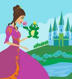 Beautiful young princess and big frog. Vector Illustration Royalty Free Stock Images