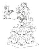 Beautiful young princess and big frog Stock Image