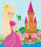 Beautiful young princess and big frog. Vector Illustration Royalty Free Stock Photography