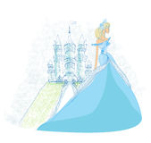 Beautiful princess in front of her castle. Beautiful young princess in front of her castle vector illustration